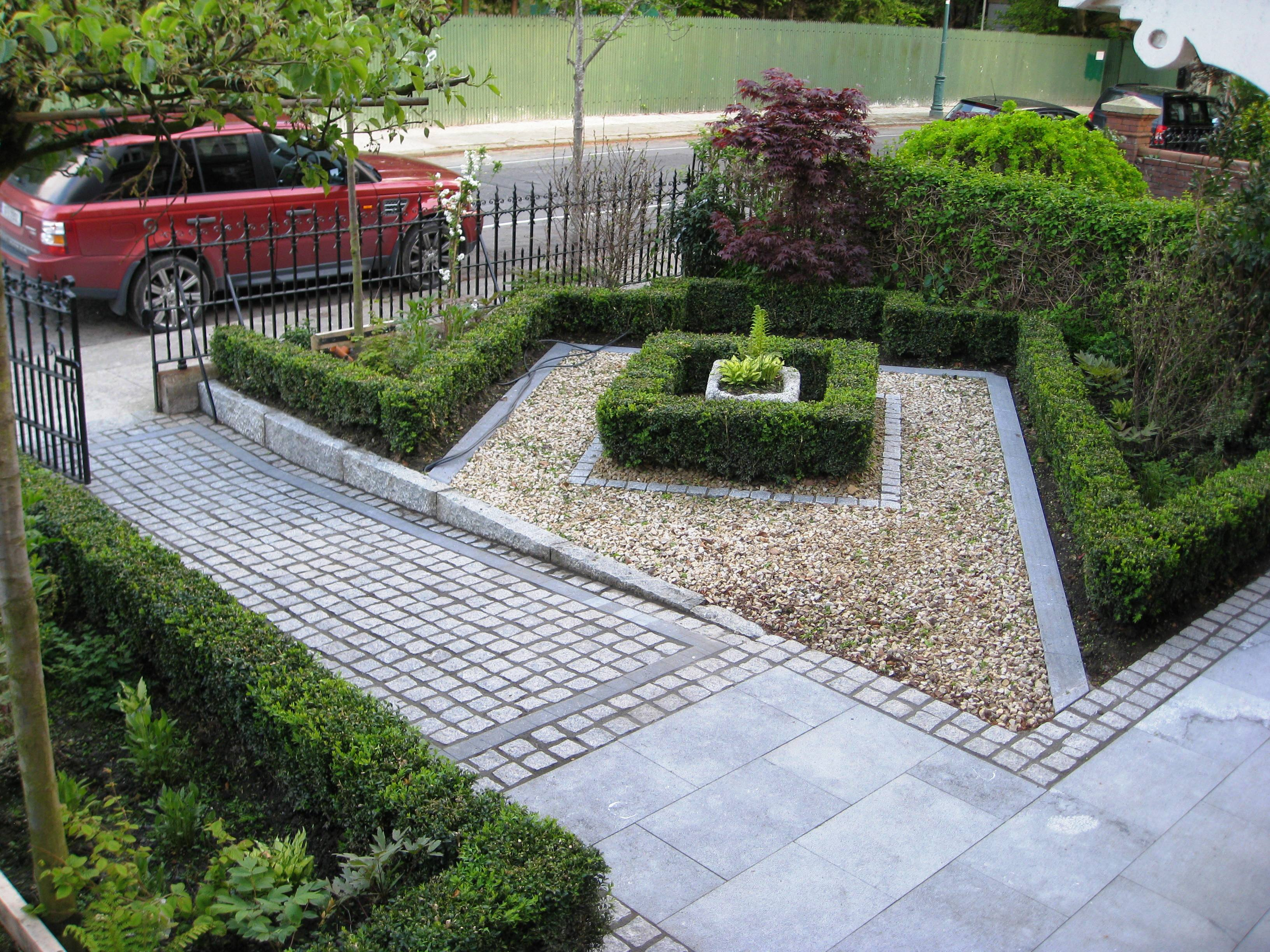 Smart front garden design in dublin tim austen garden for Paved garden designs