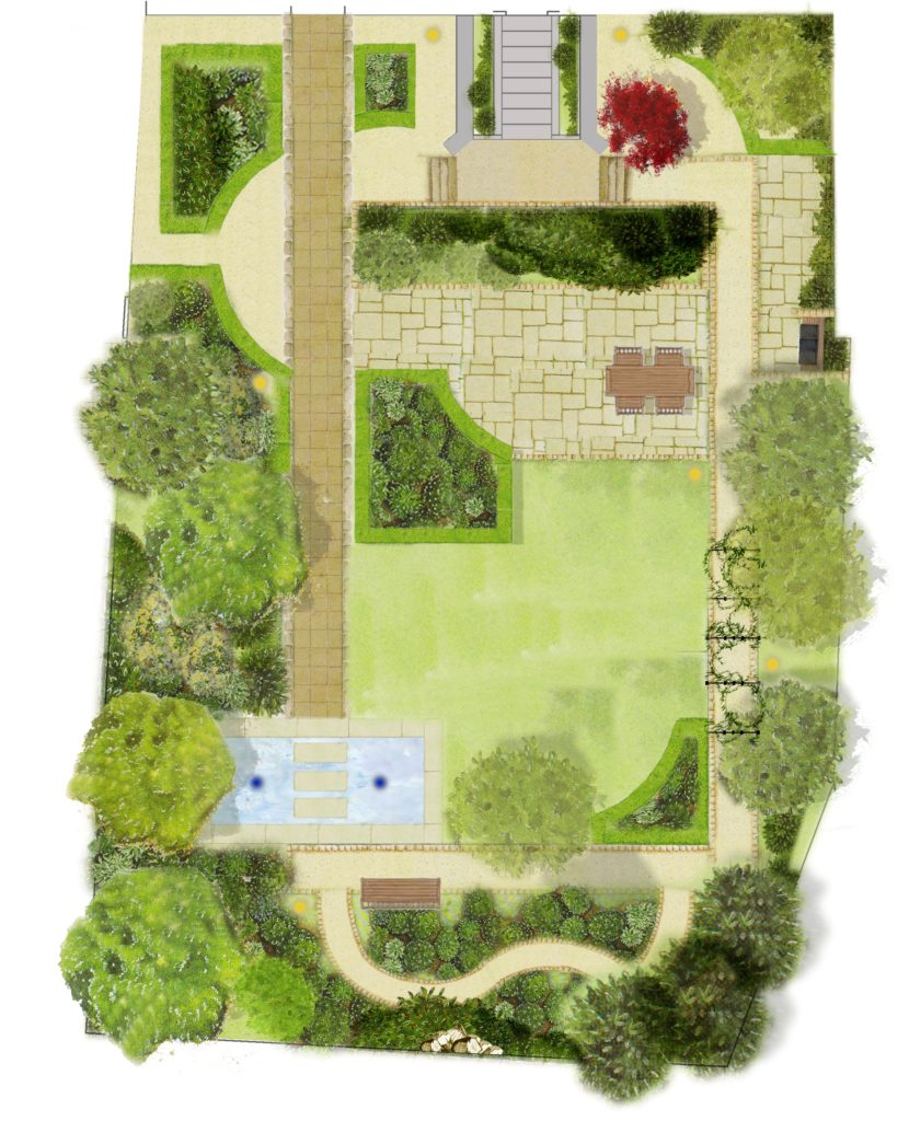 Plan your garden design tim austen garden designs for Landscape layout plan