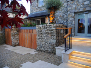 garden design, building, outdoor, designer, architect, designed, traditional, contemporary, stone planters, landscape architecture, maple tree, step lights